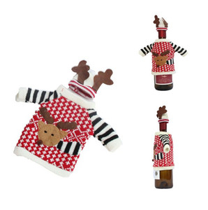 لوازم العلامة التجارية الجديدة لطيف الأزياء القماش الأحمر النبيذ حقائب غطاء زجاجة دير كنزة عيد الميلاد الديكور المنزلي حفلة عيد الميلاد