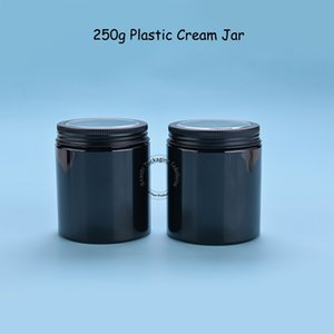 40PCS / لوط إفراغ البلاستيك 250G والبلاستيك جميع الأسود كريم جرة 250ml الاتحاد حاوية مستحضرات التجميل واضح كاب 25 / 3OZ الحلوى التعبئة والتغليف
