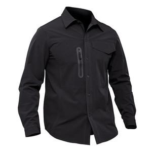 Shanghai Story 2019 Nuevos hombres Tactical camisa transpirable Anti UV hombre camisa de secado rápido Camisas de manga larga tamaño de primavera M-3XL Tamaño asiático