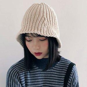 París Chica chenilla Pescador Sombrero Y Otoño Invierno Cap Chic Corea plegable de punto elástico del sombrero del cubo de Hip Hop