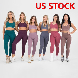 US Stock Seamless Gym Set Nylon Donna Sportswear 2 pezzi Esercizio Leggings Padded Sport Bras fitness insiemi di usura di yoga FY9007