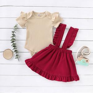 WEIXINBUY Freizeit Neugeborenes Baby-Rüsche-Baby-Kleidung Sets Neu Top Strap Röcke Outfits 2Stk Kinderkleidung Set