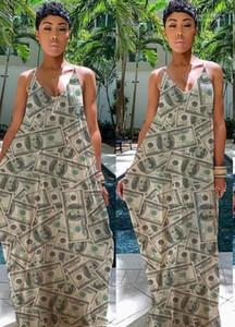 Abbigliamento Donna estate con scollo a V soldi ha stampato l'Abkle-Lunghezza abiti da Holiday Beach Fashion Casual Gonna con pannelli partito