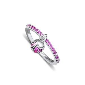 kiraz kristal yüzük gümüş moda Avrupa Pandora yüzük kolye kolye takı 52cm ile 925 ayar gümüş çiçek tomurcuğu gümüş yüzük