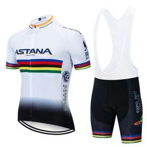 2019 Racing Pro Team Bike Ropa ASTANA ciclismo conjunto blanco Ciclismo Jersey manga corta Conjunto ropa de ciclo MTB desgaste 9D