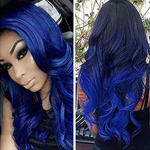 Two Tone 1B / Blue Ombre Brasilianische Reine Haarkörperwelle Bundles mit Verschluss Menschliches Haar 3 Bundles mit Schnürverschluss für Schwarze Frauen