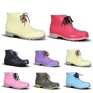 Оптовые Мужские ботинки No-Brand Design Rain Boots Низкая труда Страхование Обувь стальной подносок Черный Желтый Красный Розовый Фиолетовый Темно-зеленый Размер 38-44