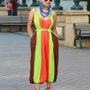 Tulum Casual Bayan Giyim Yaz Modası Spagetti Askı Tasarımcı Bayan Jumpsuit Kadın Kontrast Renk Striped Loose