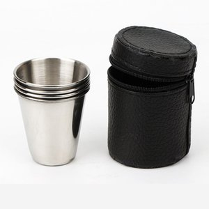 Camping Cup Stainless Steel Stacked With Storage Bracket Lightweight Outdoor Hiking Climbing Equipemnts Portable Coffee Tea Cup