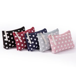 Old Cobbler Fashion small cosmetic bag tool tote Zipper bags girl's Dot pattern Coated canvas free delivery