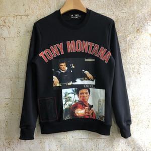 Vintage Godfather serisi TONY MONTANA erkekler için 3D Grafik Nakış Kazak Hoodie Kazak Marka Giyim Adam