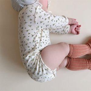 EnkeliBB 2020 Bahar Kız Uzun Kollu Giyim Bebe Kore Yeni Bor İçin Bebek Çocuk Giyim bodysuit Güzel Çiçek Desen Bodysuits ayarlar
