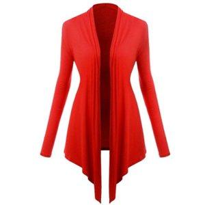 Donne Elegante manica lunga Cardigan aperto Stitch anteriore drappeggiato cappotto sottile solido del cotone casuale bordo irregolare rivestimenti del cappotto autunno cadono