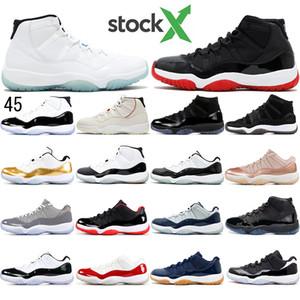 Nike AIR Jordan 11 ücretsiz çorap 2020 Erkek ve Bayan basketbol Ayakkabı ile Sneakers 11S Concord Numarası 45 Erkekler Eğitmen Şapkanız Platin Ton Bred