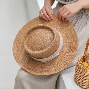 Dames à la main naturel Chapeau De Paille D'Été Chapeau De Plage Pour Femmes Hommes Panama Cap Mode Concave plat Protetion Visière Soleil Bateau chapeaux