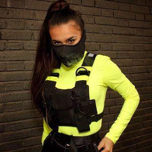 dos homens reflexivo Rig Moda Peito Bag saco da cintura Unisex Tactical Vest Rig Hip Hop Bolsas Streetwear Funcional Peito Pacote Nylon Bloco de Fanny