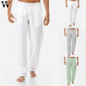 Mens Calça Casual Harem Pants Men Linho Sólidos Branco Calças Jogger Aptidão masculina cintura elástica Straight Men Pant J621