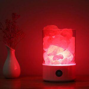 Sıcak Lava Işıkları LED Himalaya Kristal Tuz Işık Hava Arıtma Renkli Lamba Uyku Akıllı Şarj USB Yatak Odası Başucu Lambaları He ...