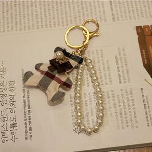 Art und Weise handgemachte Plaid Bär Schlüsselanhänger Stoff Liebe Perlenzusätze keychain Art und Weise Baumwolle Autotelefon Schlüsselkasten