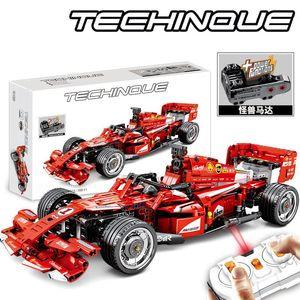 Çocuk erkek hediyeler için Sembo Technic RC uzaktan kumanda araba oyuncak Yapı Taşları modeli Kiti F1 formülü Yarışı Araba Eğitici oyuncaklar