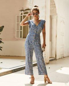 2020 Çiçek Tulumlar Moda Bayan Uzun Pantolon V Yaka Geniş Bacak Pantolon tulum Gevşek Beach Holiday Bohemian Yaz Bayanlar tulumları Yeni Baskı