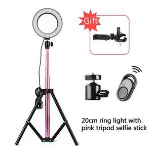 LED Anel Luz 10 polegadas selfie 5600K Lâmpada Luz Regulável Photography Studio Video Phone Com 150CM tripé StickUSB plug