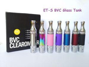 suggerimenti gocciolamento ETS BVC atomizzatore Cartomizer 1.8ohm BVC Coil capo Pyrex Glass Vape serbatoio 3ml metallo vaporizzatore 5pcs Imballaggio ETS BVC Clearomizer