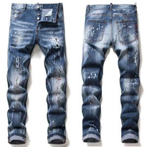 dsquared2 jeans dsq d2 20SS Hommes Rips Stretch Jeans Noir Fashion Slim Fit Washed Denim Pantalons Motocycle lambrissé Pantalon Hip HOP pantalon élastique slim NVUQ