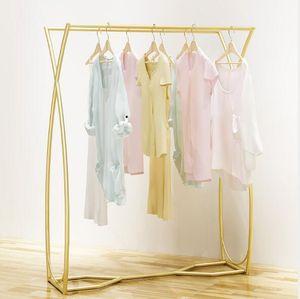 عرض متجر لبيع الملابس الرف المتوسطة الملابس صف مزدوج الرف نانو الذهب الفاخرة ضوء الرف الأطفال متجر لبيع الملابس شريط مواز الرف