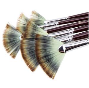 6pcs éventails Peinture en nylon cheveux Gouache Aquarelle Pinceau pour l'école Peinture Dessin Peinture Art Supplies Pinceau