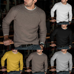 2019 New Fashion Wool Sweater Men Autumn Winter Fashion Knitted Pullover Male Solid Slim Fit Round Neck Sweater Tops