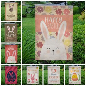 Easter Flags Bunny Printed Burlap Garden Flag Linen Hanging Yard Flags Outdoor Banner Easter Decor 40 Designs Optional DW5007
