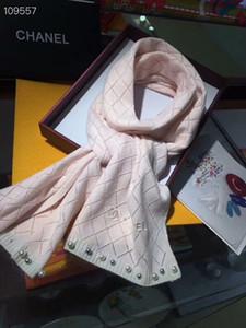 Le donne Sciarpa di lusso del progettista di marca cachemire Classic plaid maglia Sciarpe di perle stile 190x40cm caldi Sciarpe morbida Moda scialle