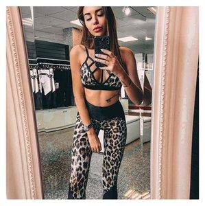 Mujeres Sexy Trajes de Yoga diseñador de moda de verano Tracksutis Yoga ropa de la aptitud de señora Leopard costura sujetador de los deportes medias de calidad superior