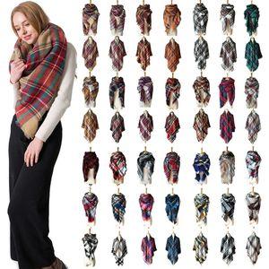 Winter Triangle Scarf Tartan Cashmere Scarf Women Plaid Blanket Scarf New Designer Acrylic Basic Shawls Women's Scarves Wraps Gifts RRA2102