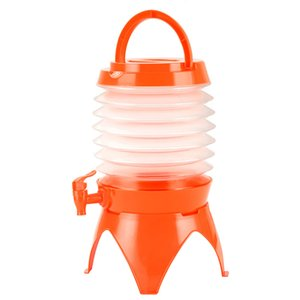 Gallon Collapsible Folding Water Dispenser Portable Drinks Container with Tap for Outdoor Camping Travelling 5L (Orange)