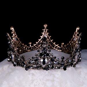 여성 고품질 합금 크라운 패션 모자에 크리스탈 라인 석 신부 웨딩 크라운 성격 중공 블랙 왕관