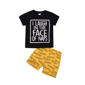 letra Chico impresión de la camiseta + pantalón corto 2pcs de los equipos del verano ocasional ropa del cabrito del bebé de la ropa del niño de la ropa 0-3Y