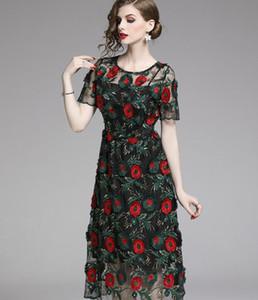 2019 크루 넥 반팔 무거운 붉은 식물 자수 거즈 녹색 여성 드레스 Mid-Calf Runway dresses