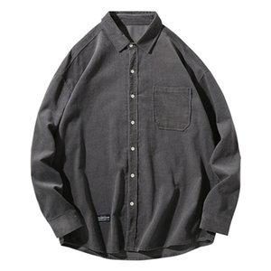 Riinr Frühling 2020 Neues Produkt Corduroy Shirt Mann Langarm-Solid Color-Revers einfaches Hemd