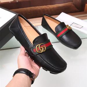 Venta caliente de moda de lujo para hombre vestido Gommino Casual Mocasines del partido Zapatos de piel de vaca solo zapato Slip On Wedding Pumps Negro Size38-44