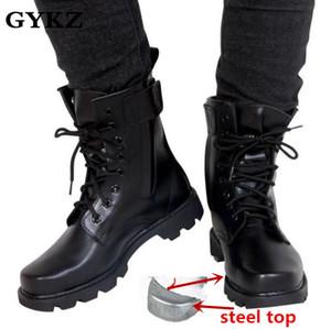 Con punta de acero botas de cuero genuino botas tácticas de combate de infantería hombres bot los robots militares del ejército bot Askeri zapatos del ejército erkek AYAKKABI