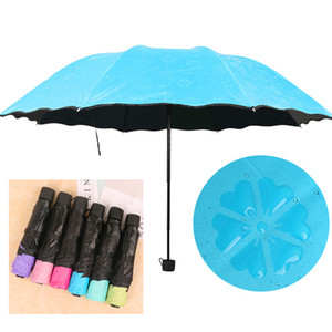 Anti-UV Tre ombrello pieghevole acqua Fioritura Bloom Soleggiato Piovoso ombrelli neri del rivestimento antivento Solido manico corto Umbrella DBC DH0866