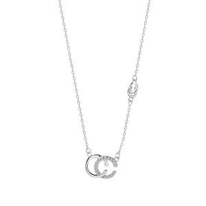 Lettre ANENJERY unique CC Pendentif Collier Couple Cadeau d'anniversaire Argent 925 Nouveau Charms Bijoux S-N365