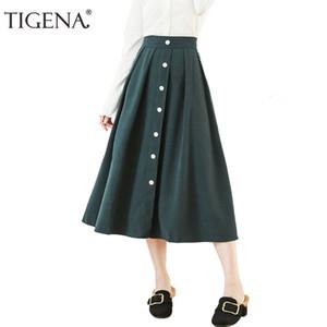 Tigena Yeni Gelenler Vintage Etekler Kadınlar Tek Göğüslü Streç Yüksek Bel Uzun Maxi Etek Kadın Siyah Pembe Yeşil Etek Y19043002