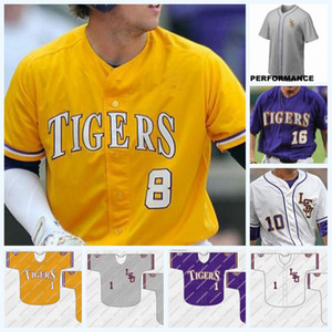 LSU Tigers 8 Alex Bregman 10 Eric Walker 18 Austin Bain 43 Todd Peterson NCAA Baseball Jersey Double Stitched Nombre Nom