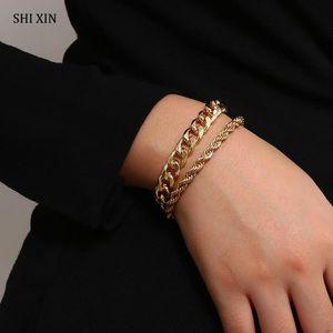 Shixin Hip Hop catena Layered Bracciale per Charms donne oro / argento di colore della catena della mano di modo punk Retro BRACCIALE Femminile