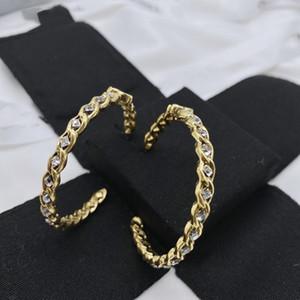 hoop earrings rhinestone double cc earrings women earings gift women hip hop jewelry high quality earrings