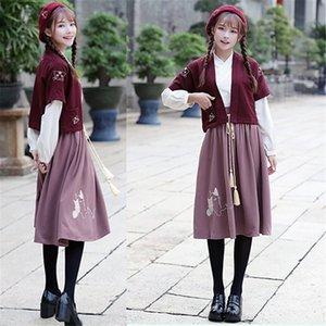 Хань вышитые береты крышка улучшилась половина рука Hanfu женщина племянник половина юбка костюм студент косплей аниме костюм