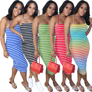 Listrado Sem Costas Com Belt Verão Womens Designer Vestidos Spaghetti Strap magros BODYCON Dresses Sólidos Brief Cor Womens Casual Vestidos